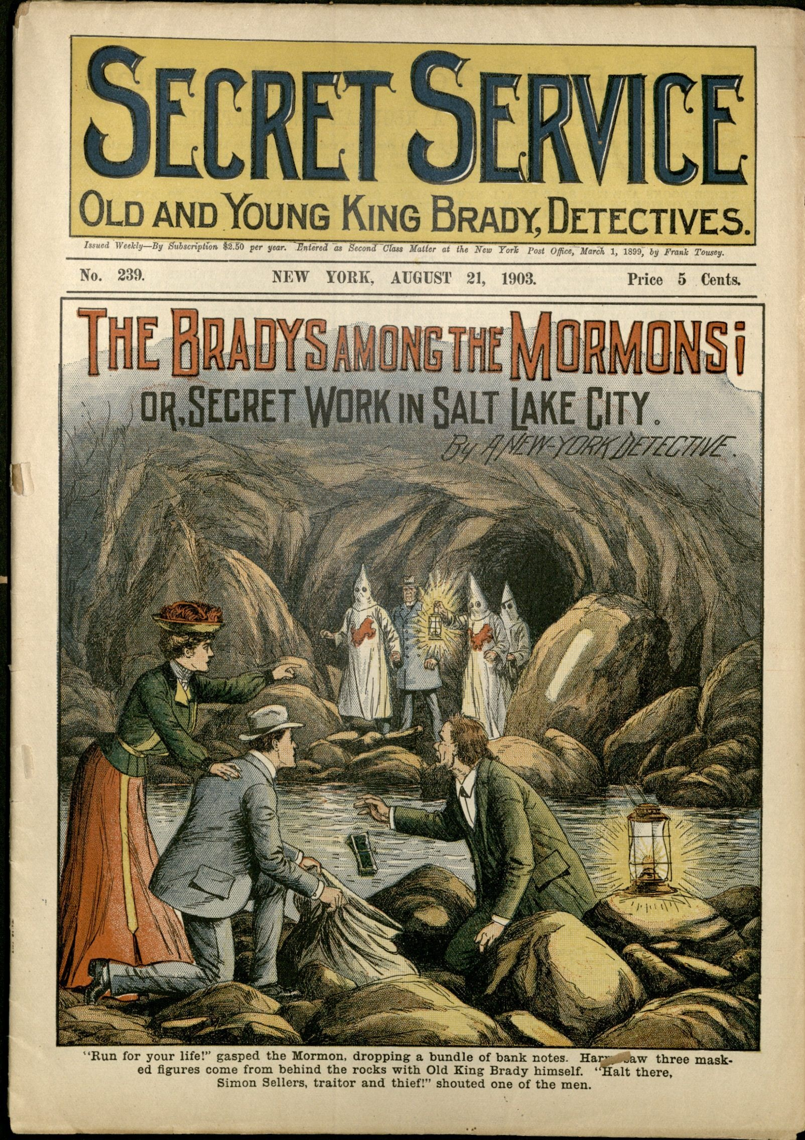 SecretService BradysAmongMormons issue239 1903Aug21 cover shows hooded mormons