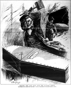 HenryCoultaus DrivingTheLastNailIntoTheMormonCoffin DailyGraphic 1885Dec16 v39n3973p305cover img1198 Crop